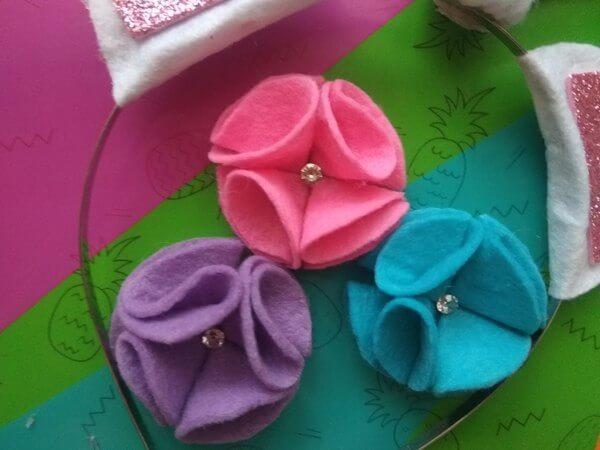 цветочки из фетра на ободок