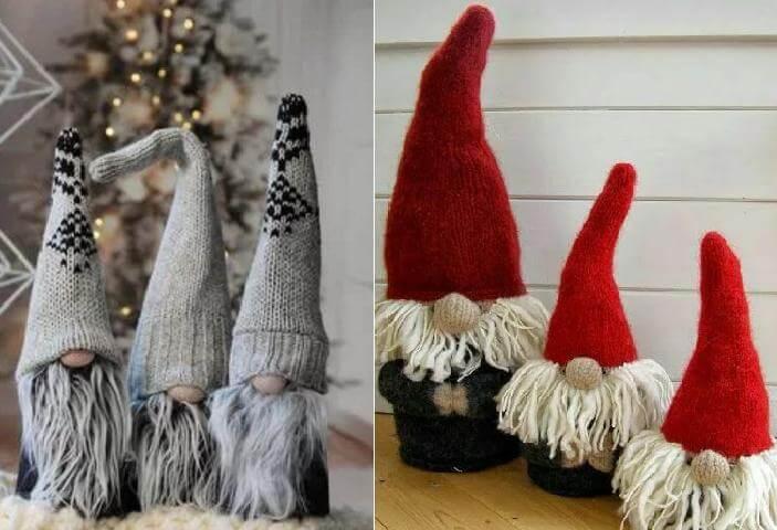 гномы с вязанными шапками